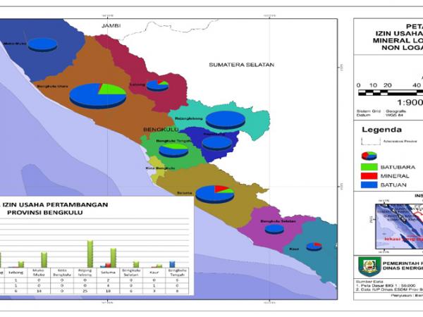 Peta Tematik Izin Usaha Pertambangan Mineral Logam, Batubara, Non Logam dan Batuan