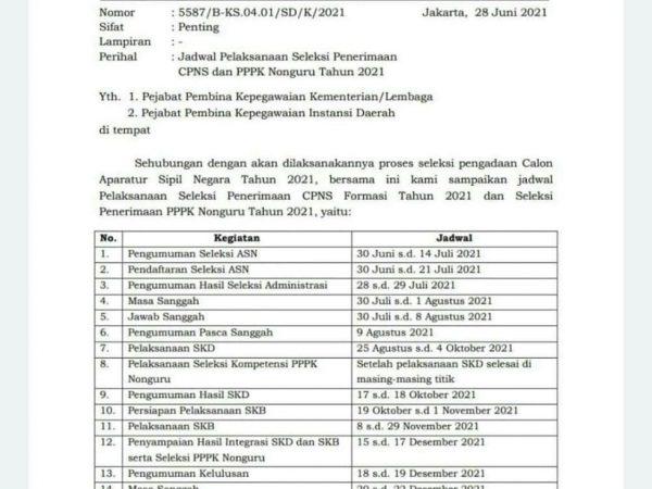 Jadwal Pelaksanaan Seleksi Penerimaan CPNS dan PPPK Nonguru Tahun 2021
